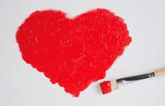 Stock Photo of painted red heart