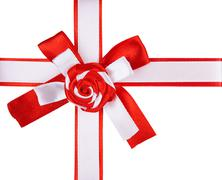 Stock Photo of red and white  ribbon bow