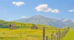 farm in the san juan mountains of colorado - stock photo