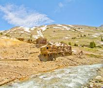 Preserved houses in animas forks, a ghost town in the san juan mountains of c Stock Photos