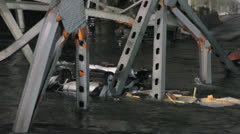 Skagit River Bridge Collapse Vehicles in River Stock Footage