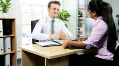 Female Asian Indian Recruitment Manager Conducting Interview Stock Footage