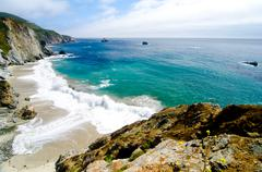 scenic vista on california state route 1 - stock photo