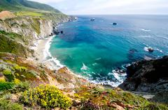 scenic vista on california state route 1 - stock photo