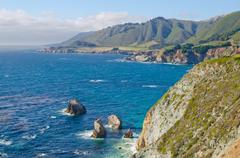 Scenic vista on california state route 1 Stock Photos