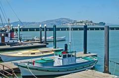 boats docked at fisherman's wharf in san francisco - stock photo