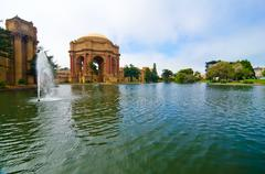 the courtyard at the palace of fine arts in san francisco - stock photo