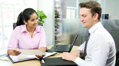 Male Caucasian Recruitment Manager Female Applicant Stock Footage