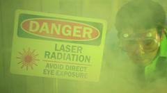 Laser science scientist Stock Footage