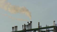 Petrochemical refinery steel pipes - close up Stock Footage