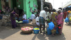India people in a Madurai flower market Stock Footage