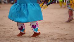Native American Shawl Dancer Female Moccasins 04 - stock footage