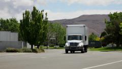 1008 - two 18 wheeler trucks on curve - stock footage