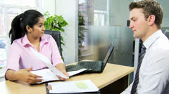 Ethnic Businesswoman Meeting Financial Advisor Stock Footage