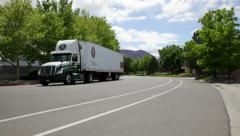 1009 - two 18 wheeler trucks - stock footage