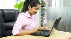 Confident Asian Indian Girl News Success Computer Terminal - stock footage