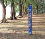 Tsunami hazard warning sign, maikao beach, phuket thailand Stock Photos