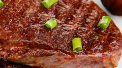 Meat entree : grilled beef steak Stock Footage