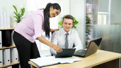 Multi Ethnic Advertising Executives Using Software Technology Stock Footage