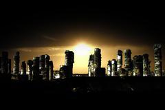 Apocalyptic Ruins - Golden Sunset - stock illustration