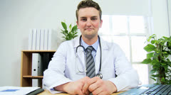 Portrait Caucasian Male Physician Video Communication Stock Footage