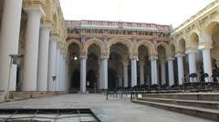 India Tamil Nadu Madurai Thirumalai courtyard tall columns 9 Stock Footage
