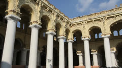 India Tamil Nadu Madurai Thirumalai columns at courtyard corner 5 Stock Footage