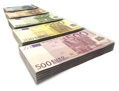 euro notes collection perspective - stock illustration