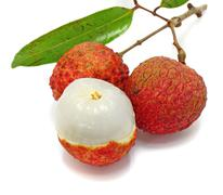 fresh lychees isolated on white - stock photo
