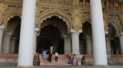 India Tamil Nadu Madurai Thirumalai palace tall columns at entrance 3 Stock Footage