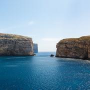 fungus rock, dwajra bay, gozo, malta - stock photo