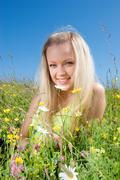 sexy  blonde  on background   meadow - stock photo