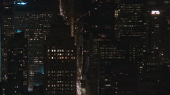 Aerial view of traffic street in Manhattan by night, New York City Stock Footage