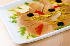 aspic from meat - stock photo