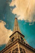 retro style eiffel tower - stock photo