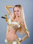 girl in belly dance dress - stock photo