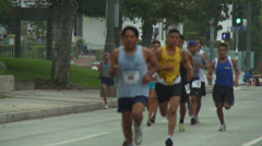 Slow Motion Marathon Runners Stock Footage