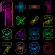 Set of numbers with radiant pattern Stock Illustration