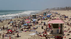 Crowded Beach Stock Footage