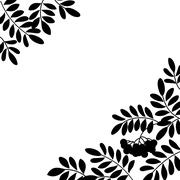 Rowanberry background, silhouette - stock illustration
