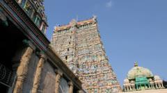 India Tamil Nadu Madurai temple gopuram and plaintive music 4 Stock Footage