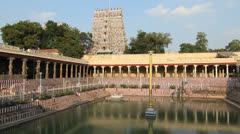 India Tamil Nadu Madurai temple tank reflects columns plaintive music 3 Stock Footage