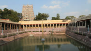 Stock Video Footage of India Tamil Nadu Madurai temple tank and central columns w wailing music 2