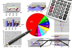 Marketing & financial statistic with graphic chart Stock Illustration