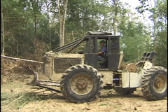 Tree cutting in the Amazon. Skidder. Stock Footage