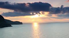 Sunrise in the mountains. Mountain Meganom, Crimea, Ukraine Stock Footage