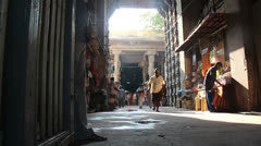 India Tamil Nadu Madurai temple daylight in tall entrance Stock Footage