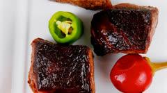 European food: roast beef meat Stock Footage
