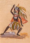 shaman in ritual mask - stock illustration