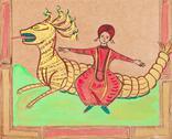 Persian prince flying on dragon Stock Illustration